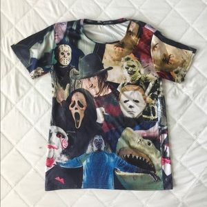 Horror Films All Over Graphic T-shirt